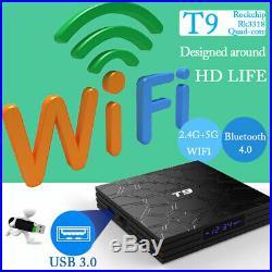 2019 Android 9.0 TV Box, T9 Smart TV Box 4GB RAM 32GB ROM Quad-Core 4D/3K/H. 265