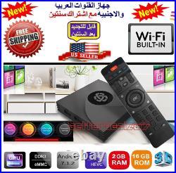 4K Arabic English Turkish Africa WI-FI Android 7.1 Sports TV BOX HD Moive 2/16GB