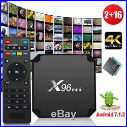 5PCS X96 MINI 4K S905W 2GB 16GB Android 7.1 Quad Core WIFI 3D Smart TV BOX F4V6N
