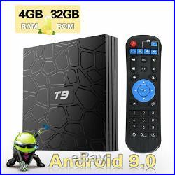 Android 9.0 TV Box, T9 Smart TV Box 4GB 32GB RK3318 Quad-Core 4K 3D H. 265