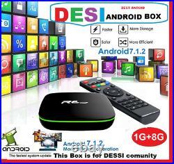 Indian, Hindi, Bengali, Pak Android 7.1 TV Box 8GB 4k Quad Core Built-in WiFi