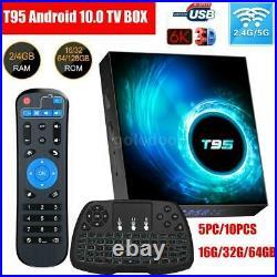 LOT T95 6K TV BOX Android 10 32G/64GB 5G WIFI HD BT5.0 Media Streamer+Keyboard