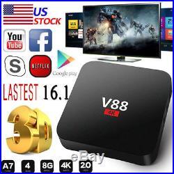 LOT V88 PRO Smart Android 5.1 4K Smart TV Box Quad Core 16.1 HD 1+8G US Plug