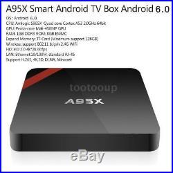 Lot 10 4K Amlogic S905X 2.0GHz Quad Core 64bit WIFI Android6.0 Smart TV Box W1Q3