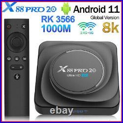 X88PRO 20 8+64GB Android 11.0 TV Box RK3566 Quad-core 8K Media Player 1000M V6M6