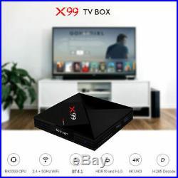 X99 TV Box 4K Android7.1 RK3399 Dual Wifi with Voice Remote 4GB+64GB 3D EU plug