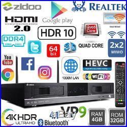 ZIDOO X20 Pro Realtek RTD1296DD Quad Core Android TV Set Top Box Dual HDD NAS PC